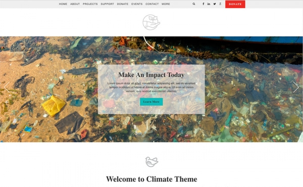 <p>Climate environmental nonprofit website theme.</p>