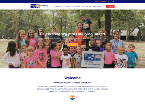 United Way of Greater Texarkana website design by Morweb