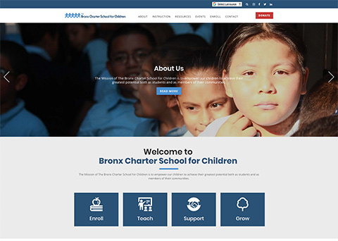 Bronx Charter School for Children nonprofit website design by Morweb