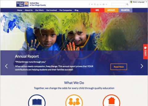 United Way of San Diego powered their nonprofit web design with Morweb CMS.