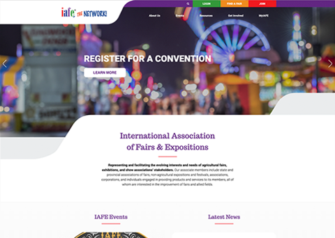 International Association of Fairs & Expos website design by Morweb