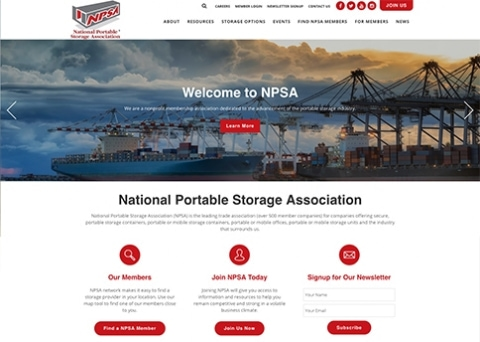 The National Portable Storage Association designed a dynamic website with the powerful web design tools of Morweb's association site builder.