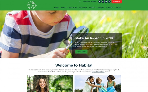 <p>Habitat environmental nonprofit website theme.</p>