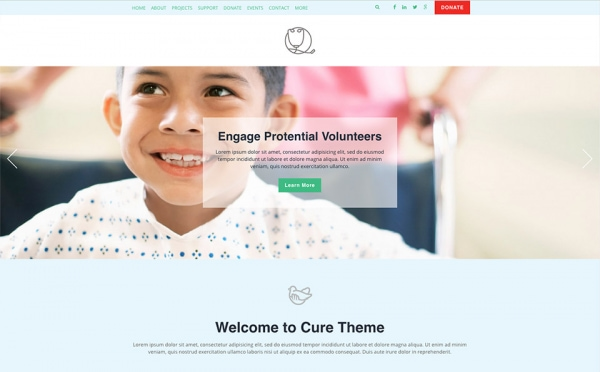 <p>Cure nonprofit health website theme.</p>