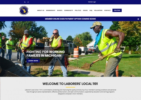 Laborers' Local 1191 association website design by Morweb