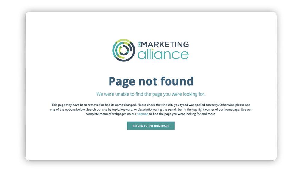 404 error page association website example: The Marketing Alliance