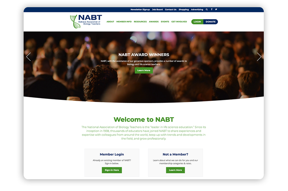 Association website example with easy conversions: National Association of Biology Teachers