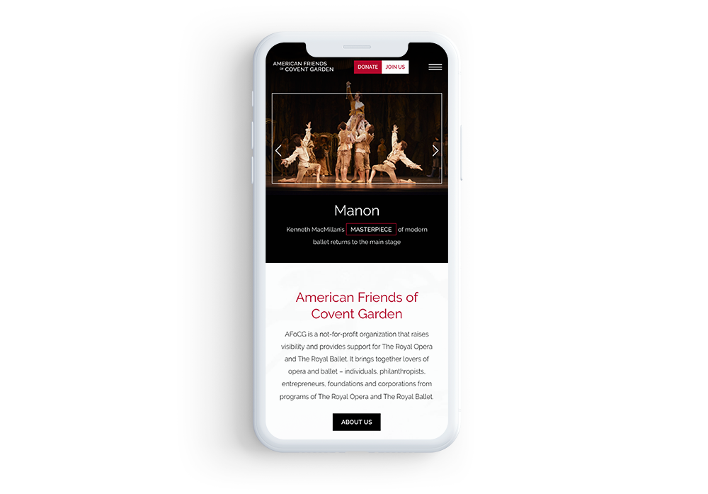 Mobile-optimized association website example: American Friends of Covent Garden
