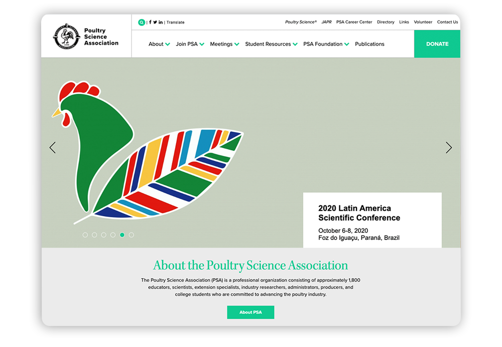 Association website example using white space: Poultry Science Association
