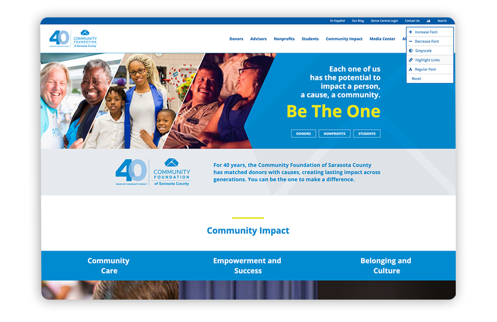 Accessible association website example: Community Foundation of Sarasota County