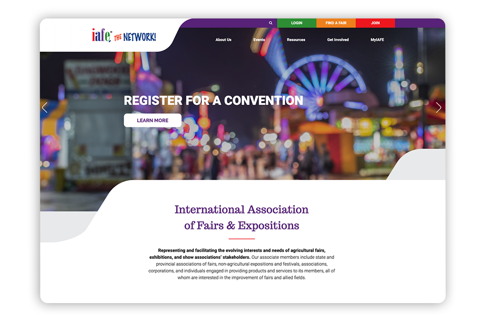 Branded association website example: International Association of Fairs & Expos