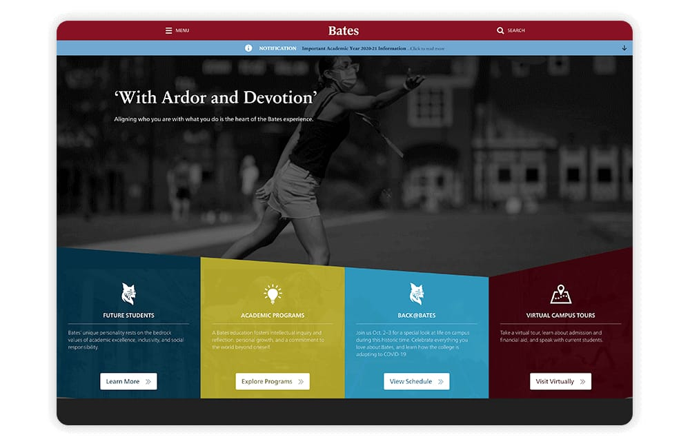 Bates College ensures their college website features plenty of involvement opportunities.