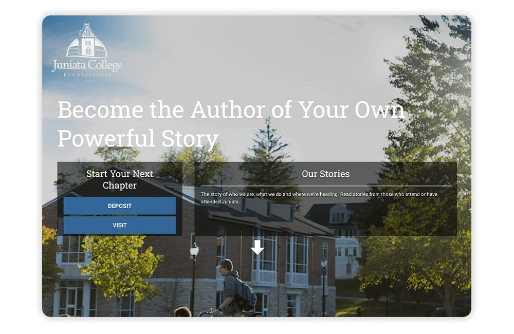 Juniata College uses storytelling and similar techniques on its college website.