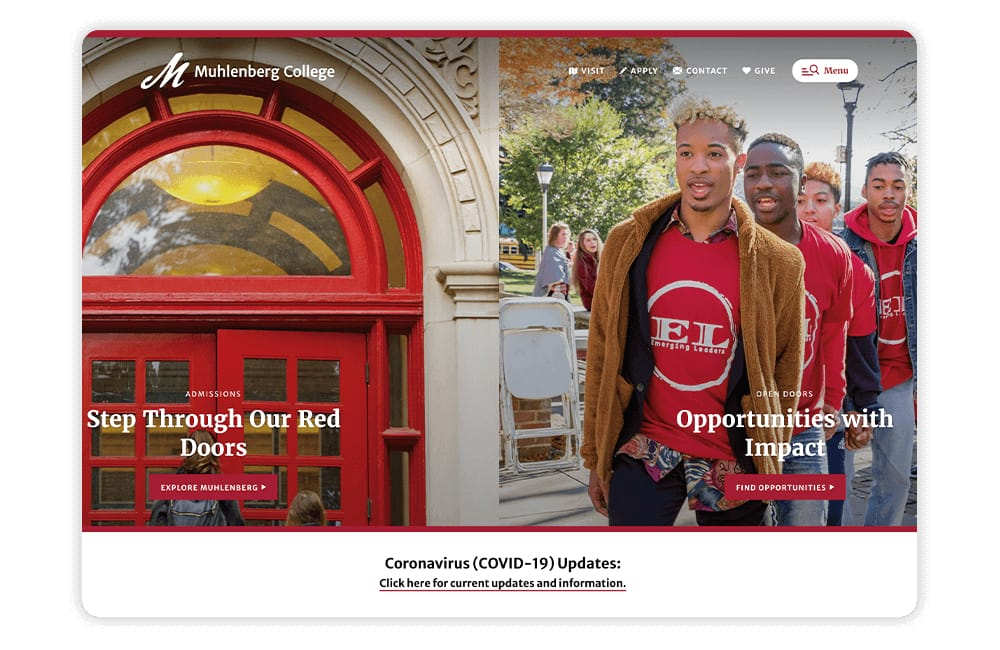 Muhlenberg College features a simplistic college website design that features strong imagery.