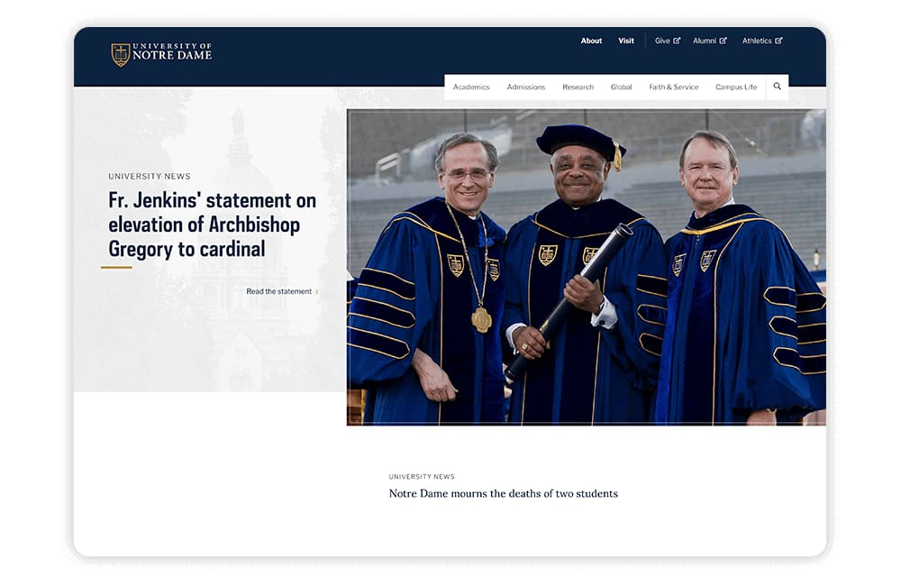 On its university website, Notre Dame implements strong branding.
