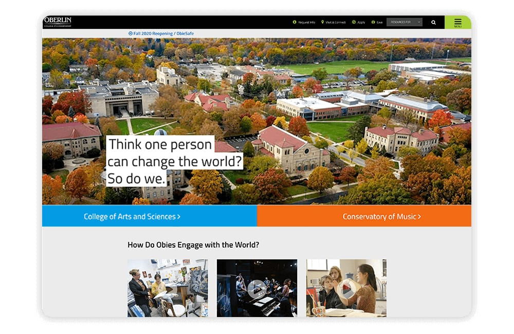Oberlin uses eye-catching CTAs and compelling multimedia elements on its college website.