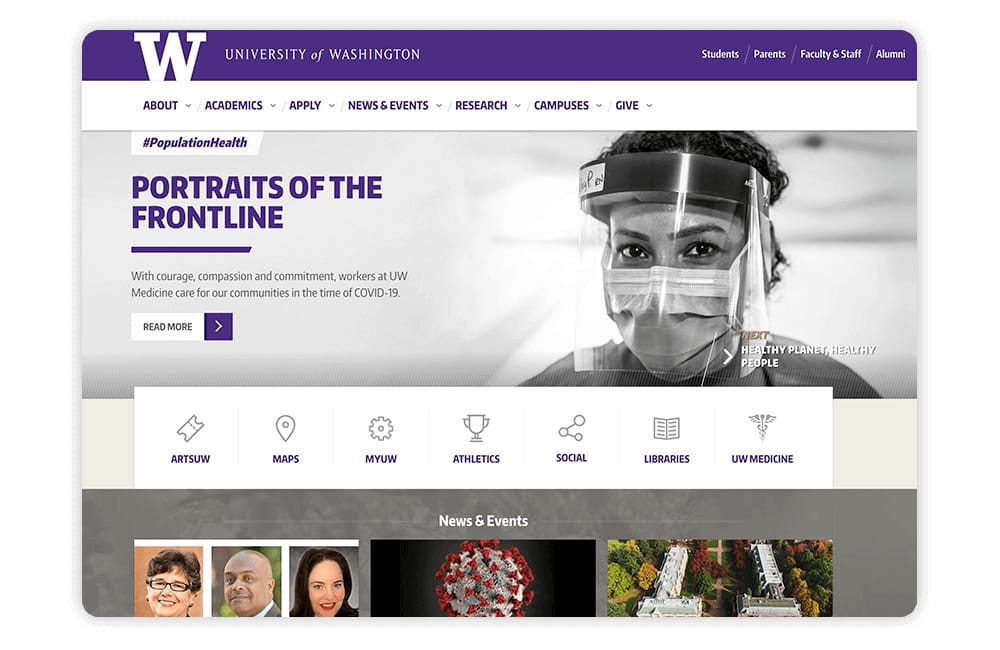The University of Washington leverages a well-designed donation page and engaging visuals on its university website.
