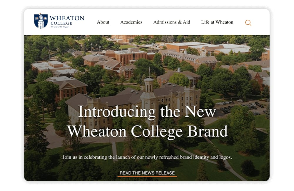 Wheaton College leverages a blog and posts testimonials on its college website.