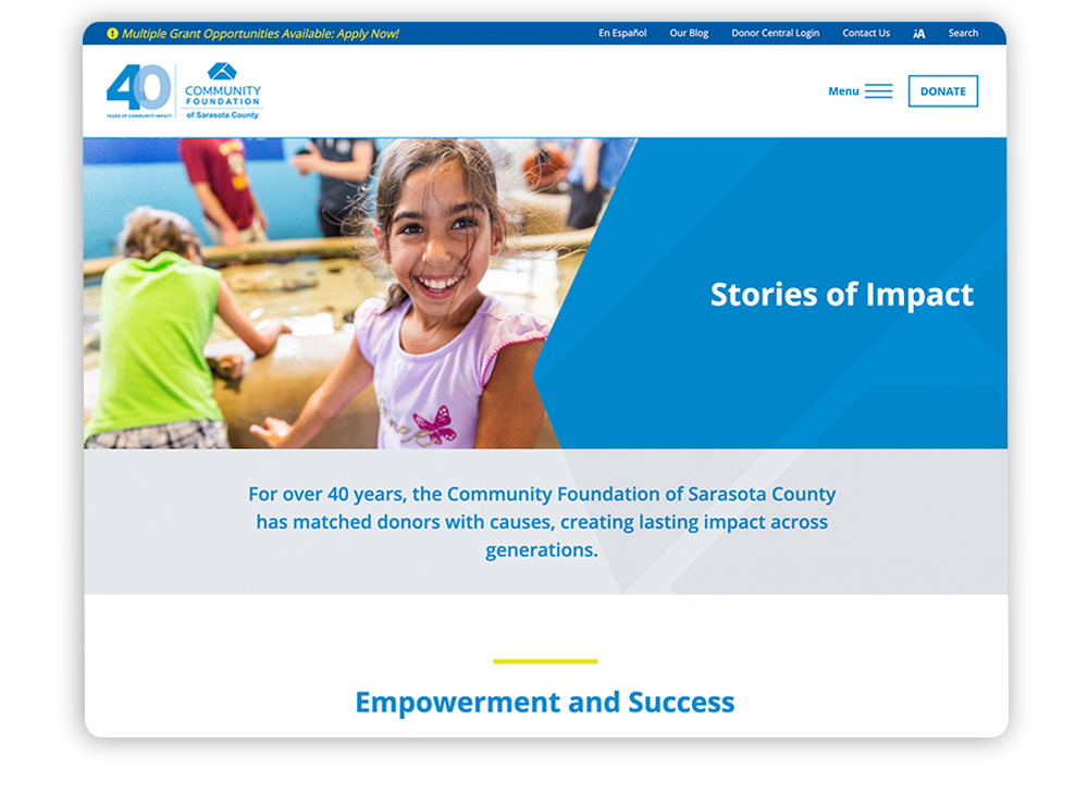 Digital marketing for nonprofits blog example on the Community Foundation of Sarasota County