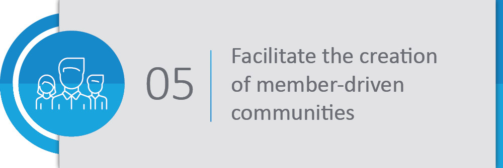 Facilitate the creation of member-driven communities.