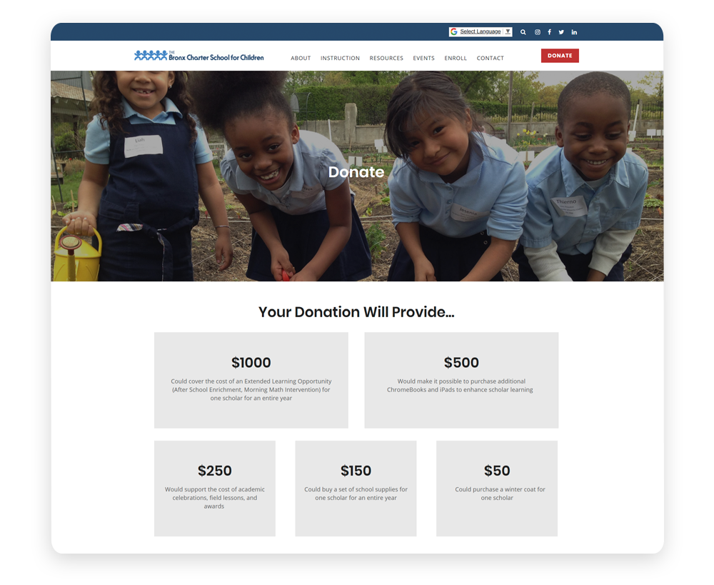 Donation form example: Bronx Charter School for Children