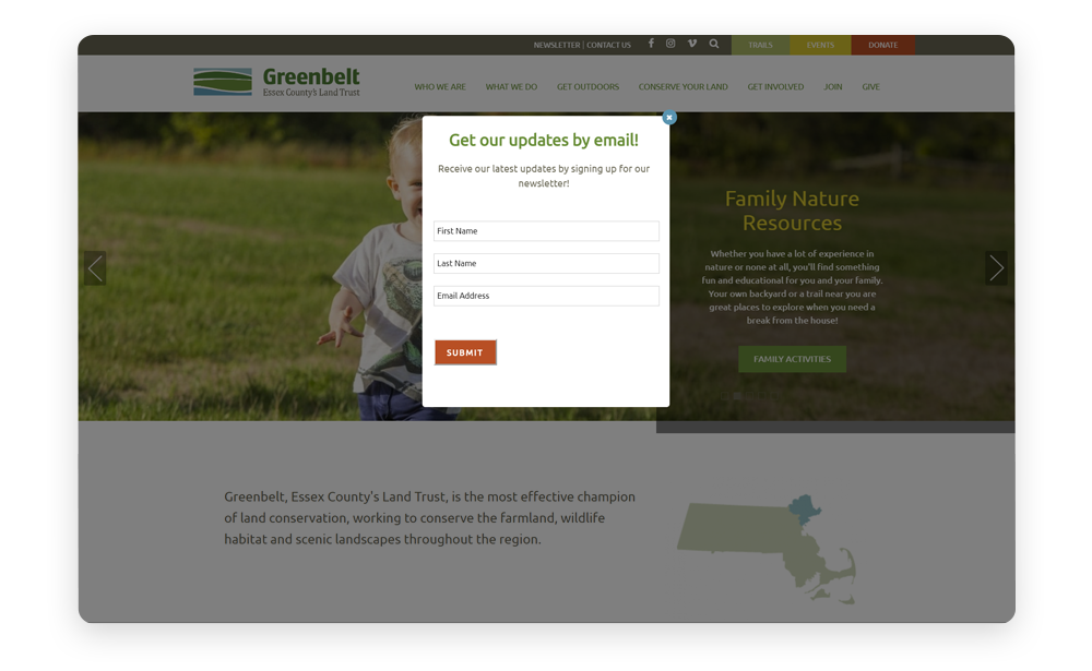 Donor relationships discovery stage: Greenbelt offers a newsletter pop-up form