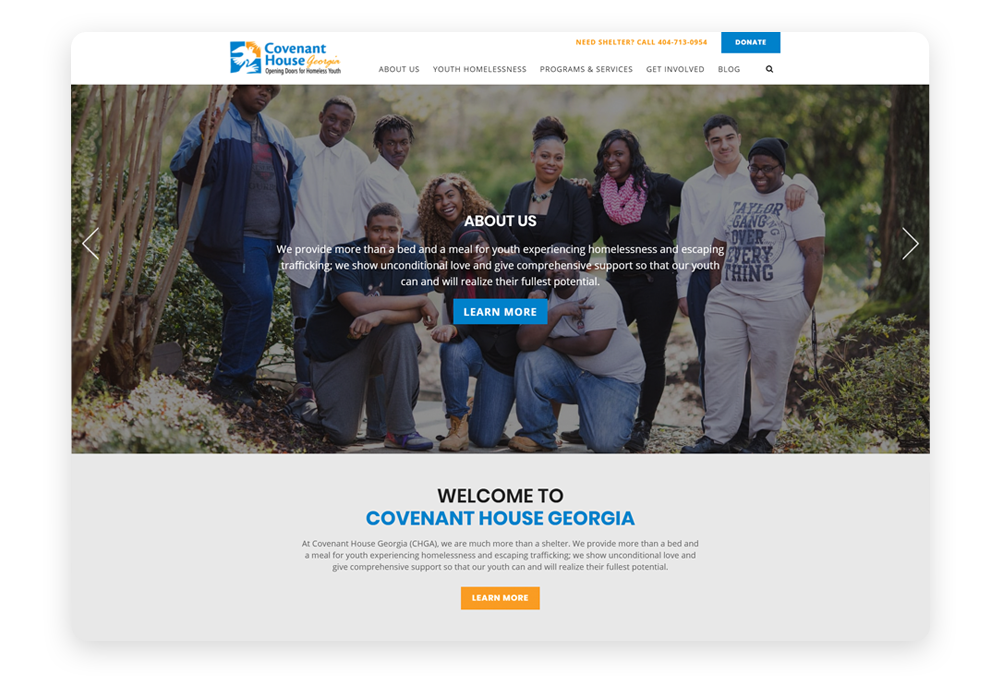 Donor-friendly website example: Covenant House Georgia