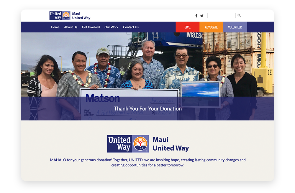 Donor relationships stewardship example: Maui United Way Thank You page