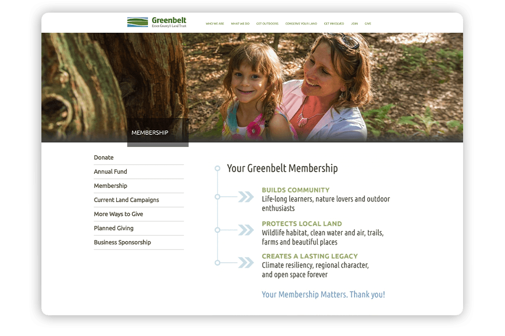 When learning how to build a membership website, ensure you offer sufficient information regarding your membership program like Greenbelt.