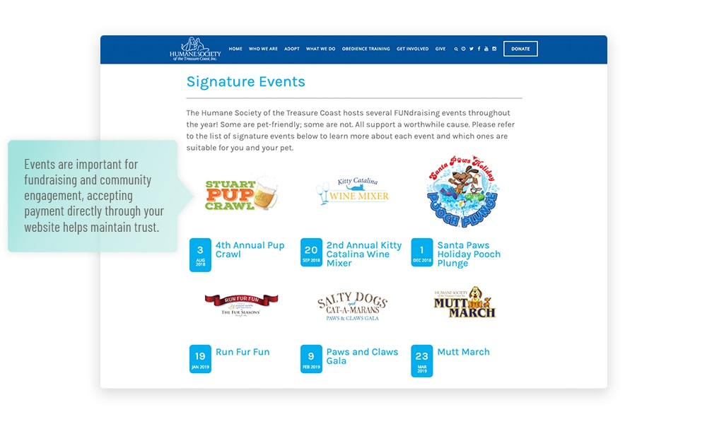 Humane society website events