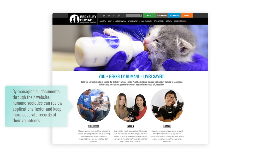 Humane society website volunteer registration page