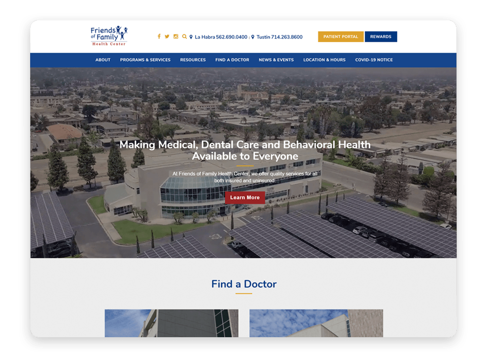 An interactive medical web design like this one from Friends of Family Health Center improves visitor engagement.