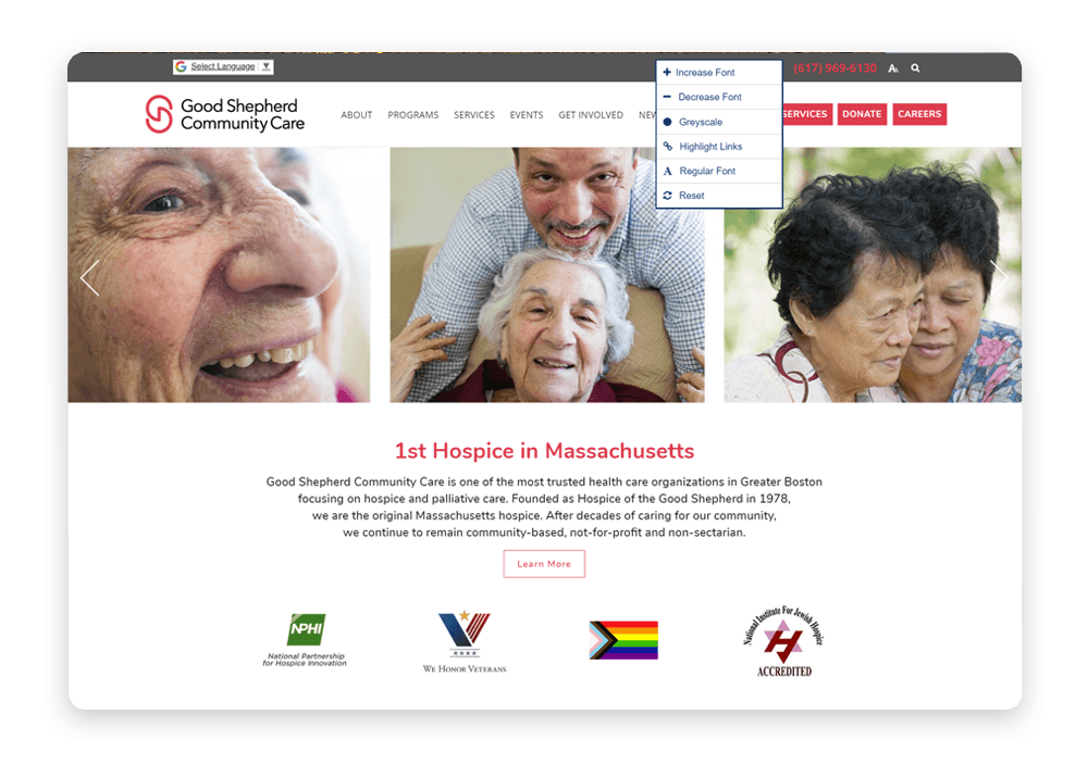 Accessibility is at the forefront of Good Shepard Community Care's medical web design.