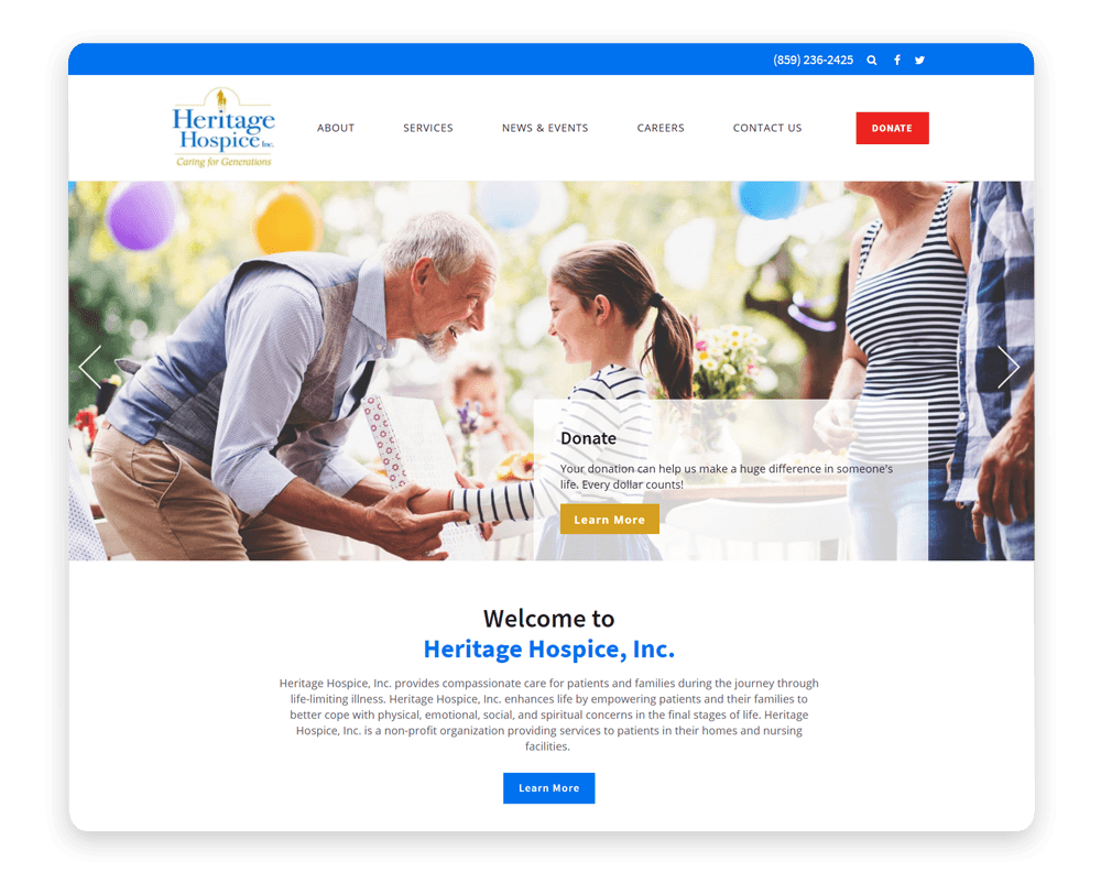 Like this example from Heritage Hospice, include smooth navigation in your medical web design like Heritage Hospice