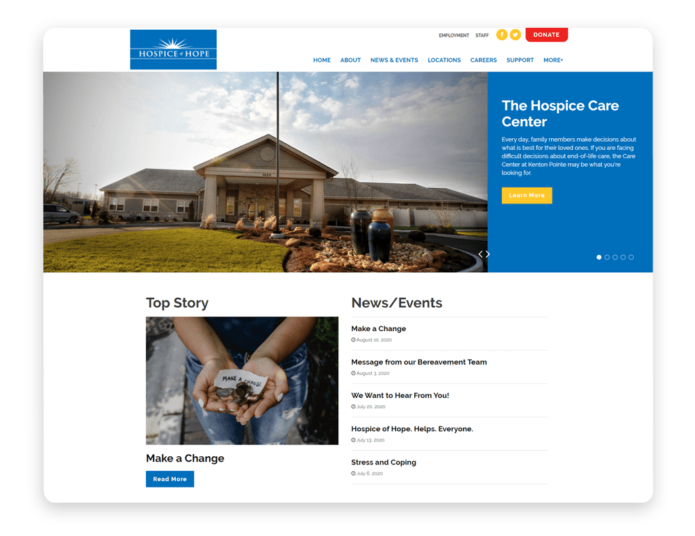 Hospice of Hope accounts for the importance of strong imagery in their healthcare website design.