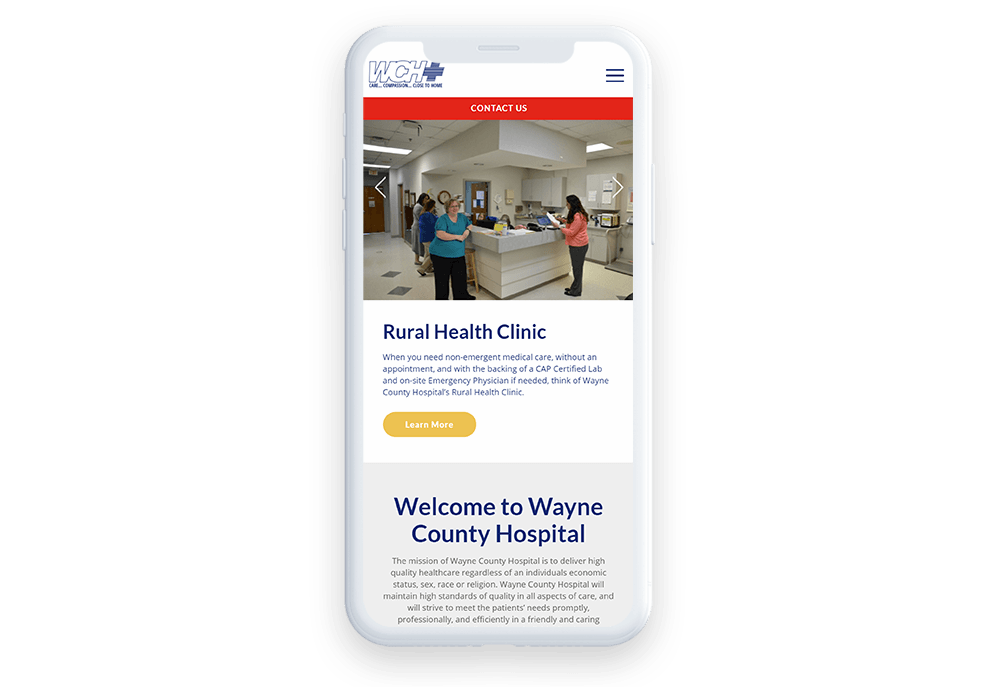 Wayne County Hospital puts mobile responsiveness at the forefront of their medical web design.