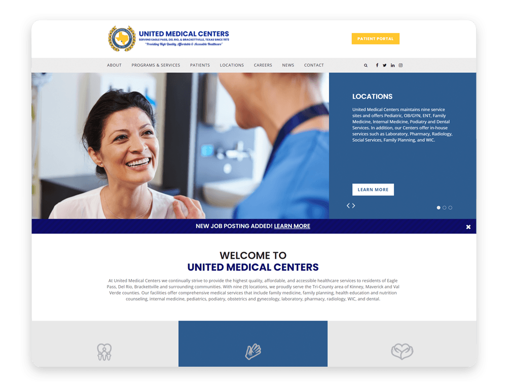 United Medical Centers includes strong branding in their healthcare web design.