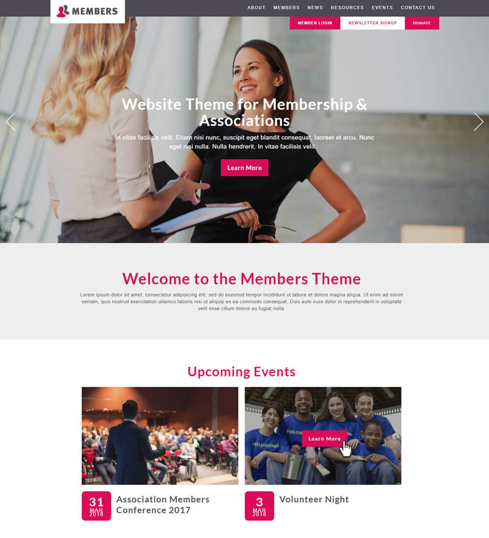 Members is a nonprofit website template by Morweb designed for community associations.