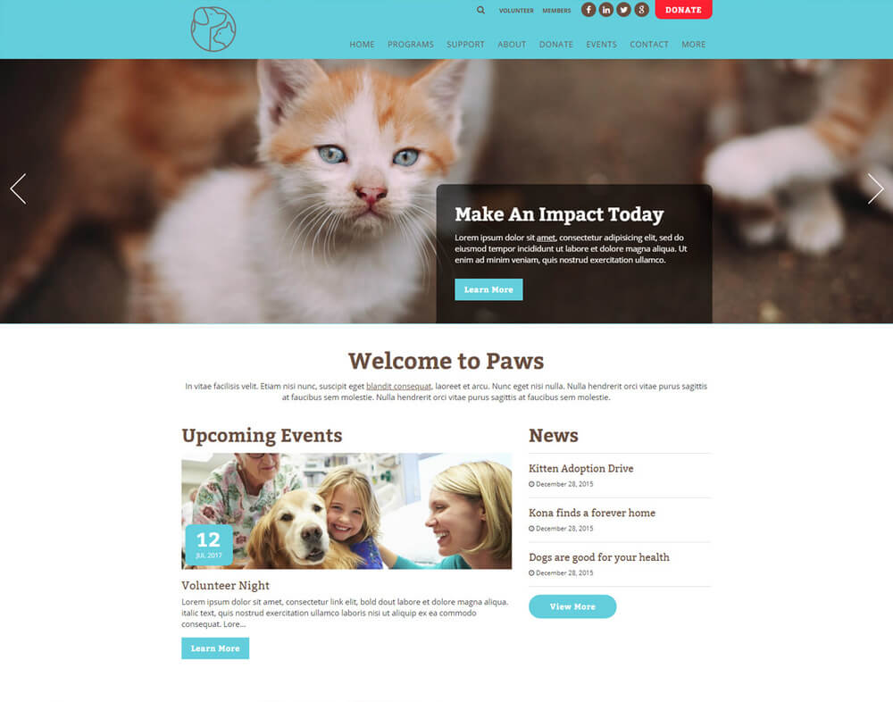 Paws is a nonprofit website template by Morweb.