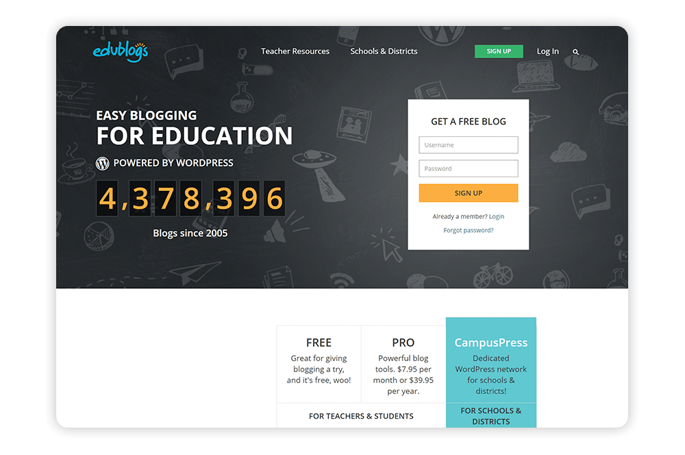 Explore Edublog's school website builder.