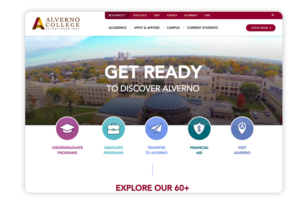 Alverno College's website prioritizes compelling calls-to-action and organized navigation.
