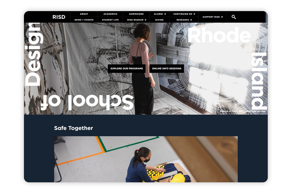 Rhode Island School of Design puts students at the forefront of their college website design.