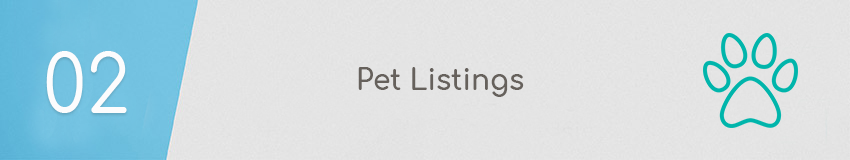 Pet listings header