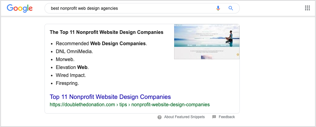 Google search: best nonprofit web design agencies