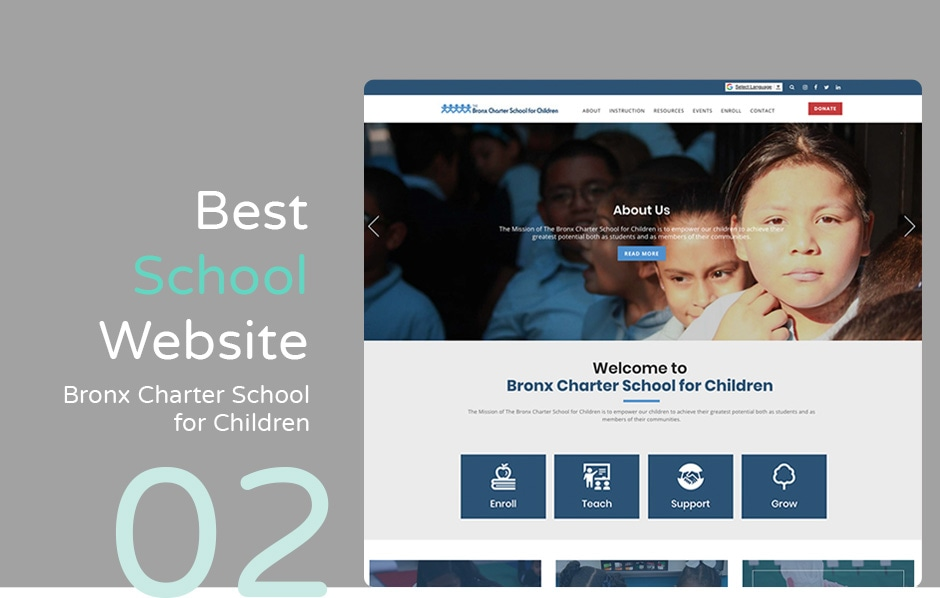 Best school website: Bronx Charter School for Children