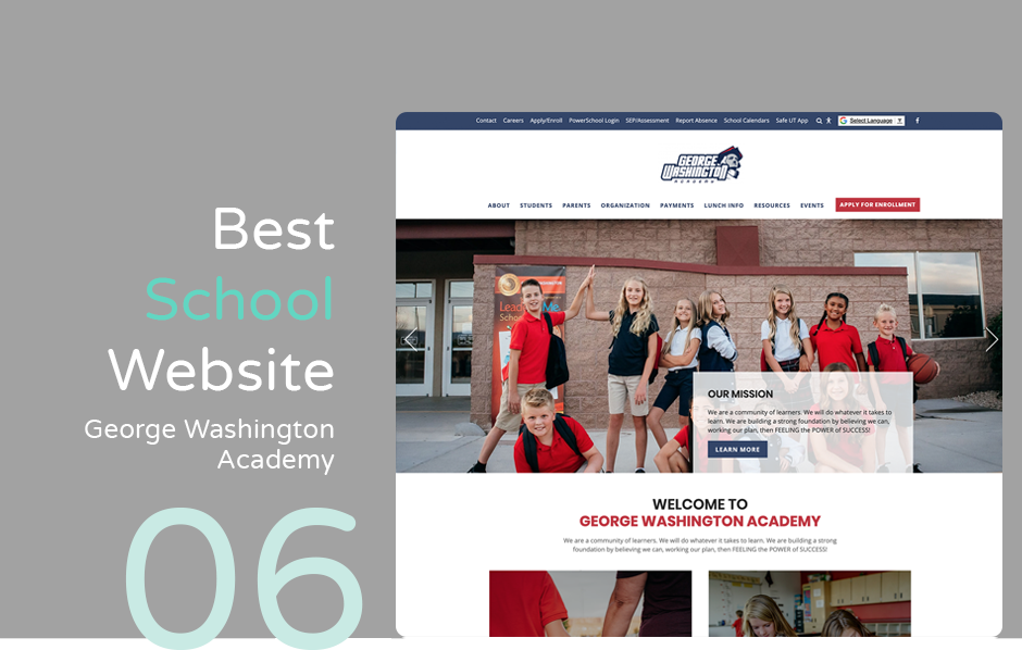 Best school website: George Washington Academy