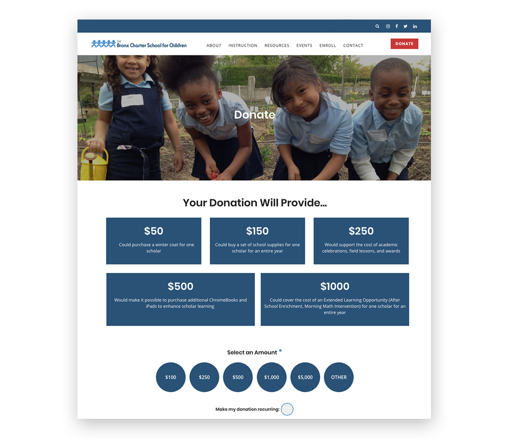 Suggested giving options will boost your donation page design.
