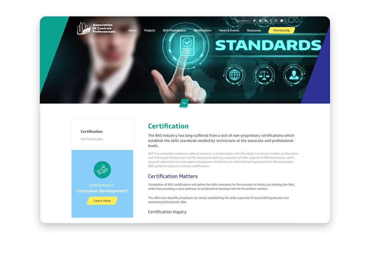 Members certification website example