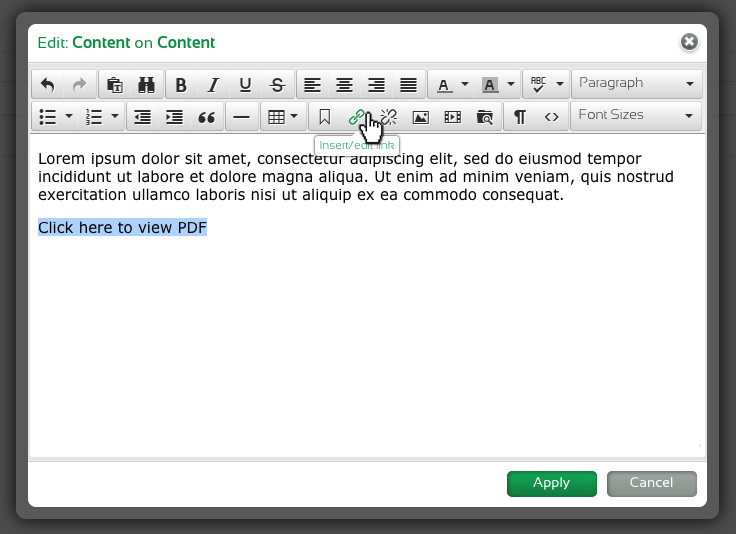 Morweb text editor, highlighting text to link