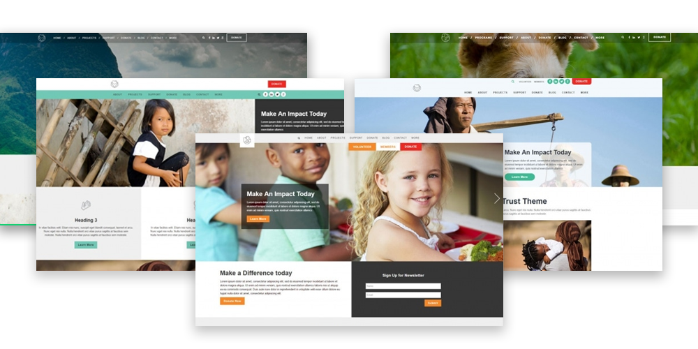 Nonprofit web design agency website themes